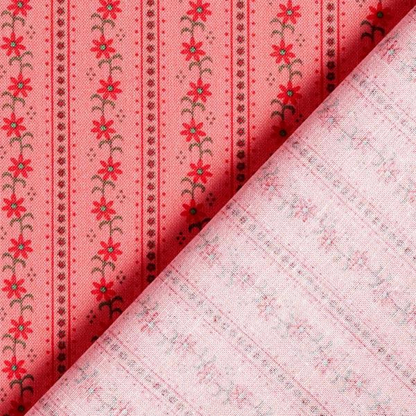 Tissu en coton Popeline Rinceaux de fleurs folkloriques – saumon