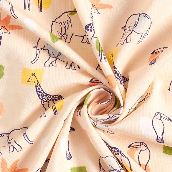 Bio Jersey coton   Animaux des steppes – beige clair