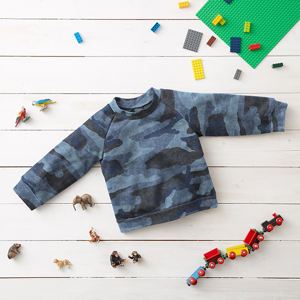 Sweatshirt angeraut Camouflage – jeansblau/anthrazit