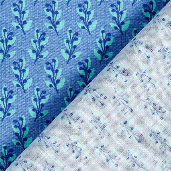 Popeline de coton bio petites branches – bleu