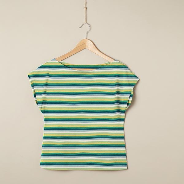 Jersey coton Rayures fines – vert tilleul/vert herbe