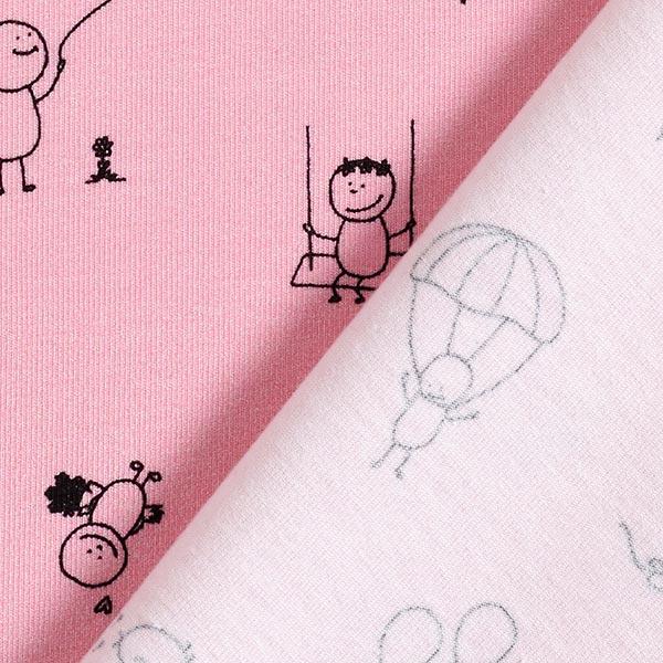 Jersey coton Bonhommes bâtons – rose