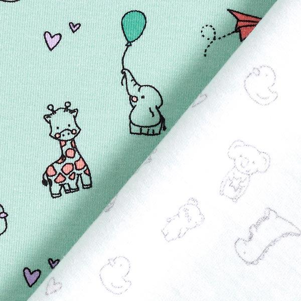 Jersey coton Bébés animaux – vert pastel