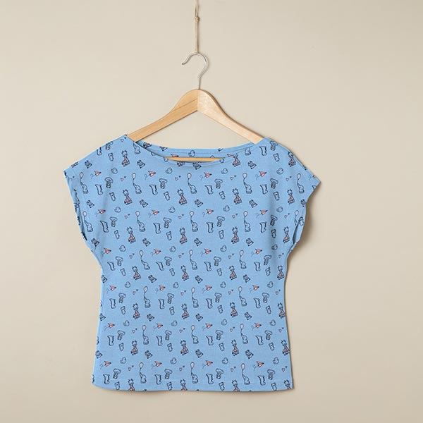 Jersey coton Bébés animaux – bleu clair