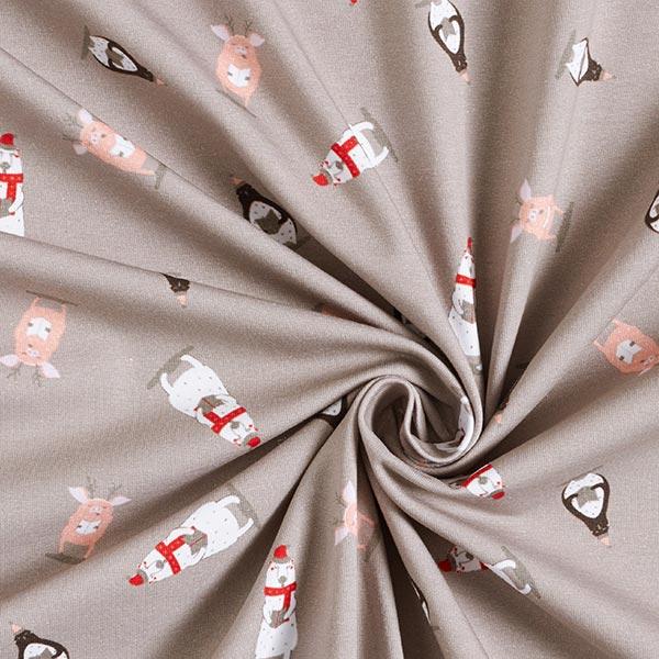 Jersey coton chorale de Noël animale – gris clair