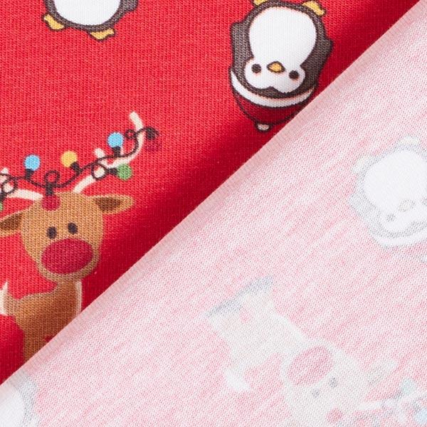Jersey coton renne et pingouin – rouge