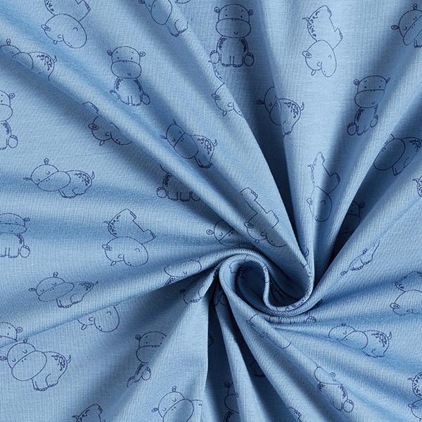 Jersey coton Hippopotames heureux – bleu acier