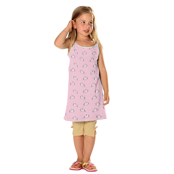 Jersey de coton bio  Licorne rayures – rosé/rose vif