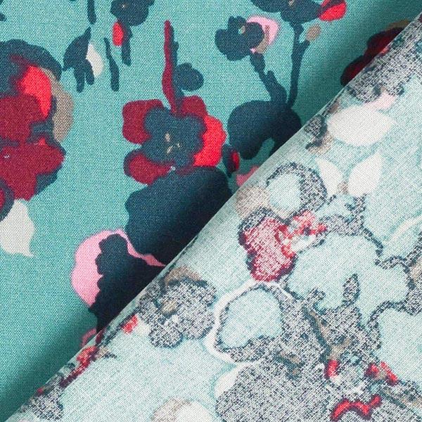 Tissu en viscose Fleurs tachetées – pétrole pastel