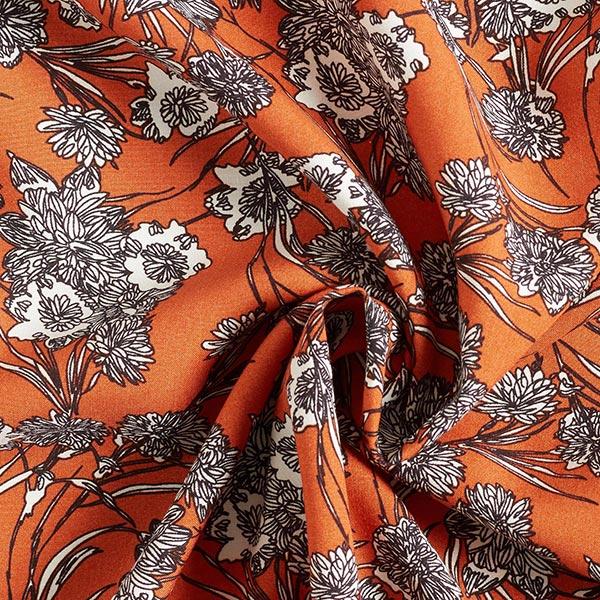 Viskosestoff malerische Blumen – terracotta