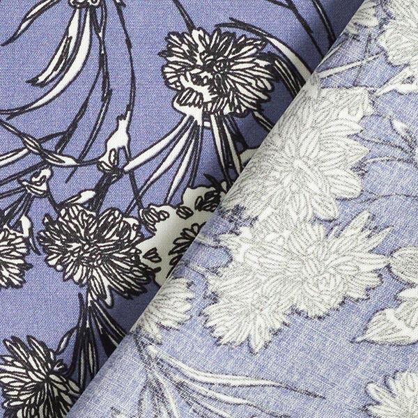 Tissu en viscose Fleurs picturales – lilas bleu