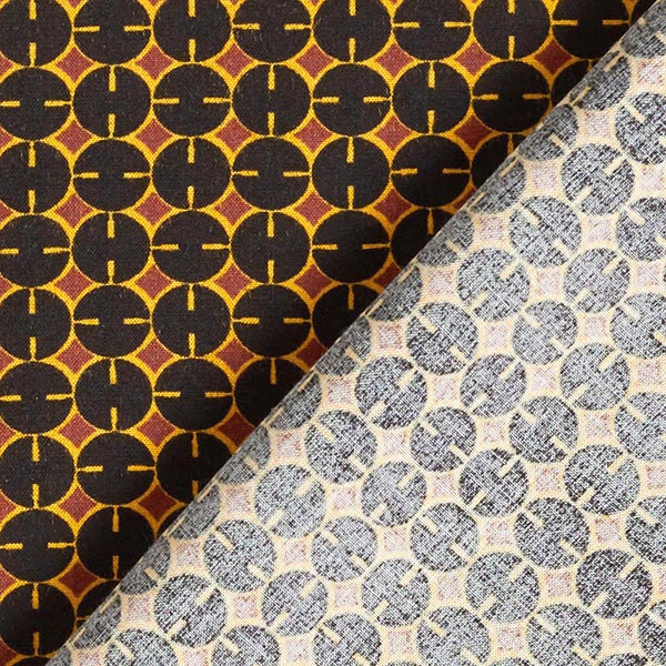Tissu en viscose Cercles – noir/terre cuite