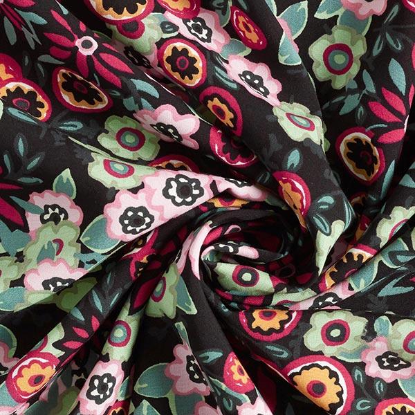 Tissu en viscose Peinture florale naïve – noir