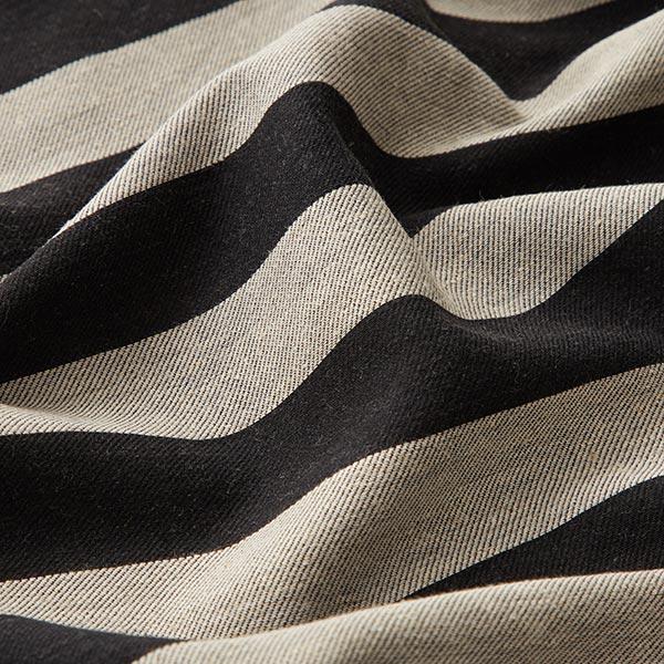 Mélange coton grosses rayures – noir/nature