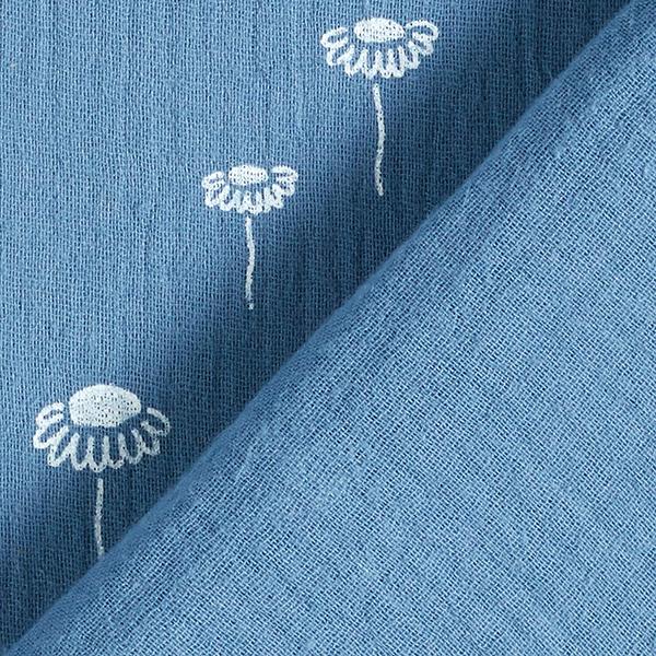 Mousseline / Tissu double crêpe Pâquerettes – bleu acier/blanc