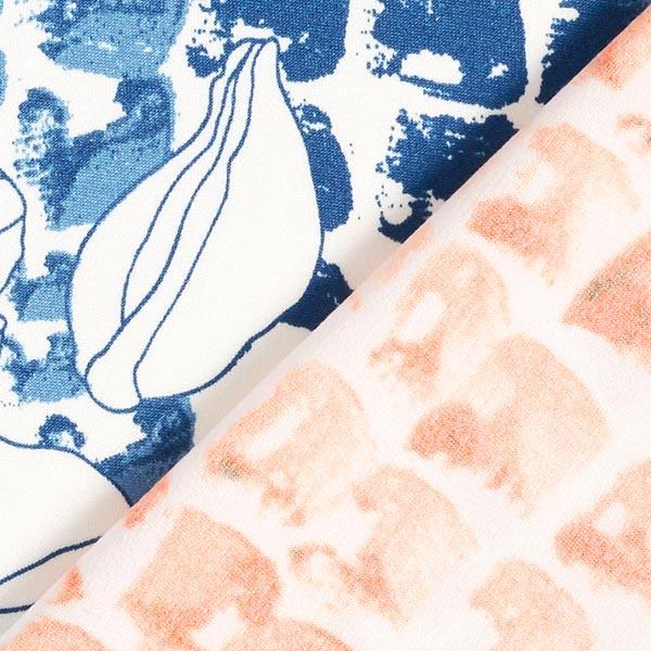 Jersey polyester fleurs à pois – blanc