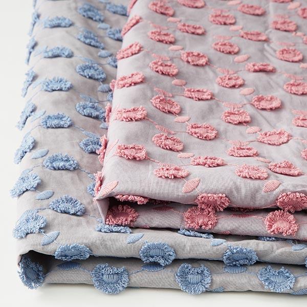 Batiste broderie pompon fleurs – gris clair/rose