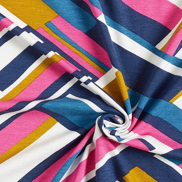 Jersey viscose Motif tressé abstrait – rose vif/moutarde