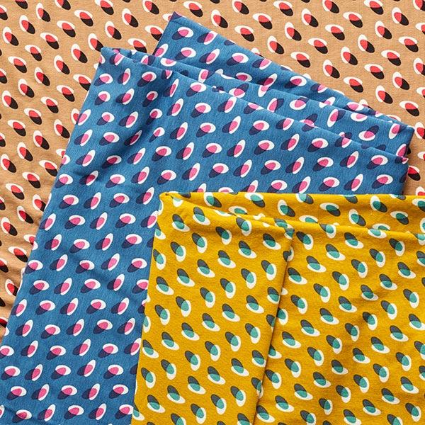 Jersey viscose Rétro points tricolores – curry/pétrole