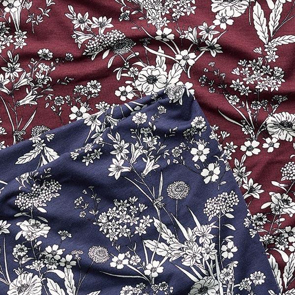Jersey viscose Bouquet de fleurs des champs – rouge bordeaux/blanc