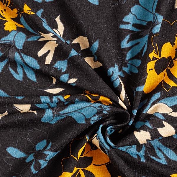 Jersey viscose Fleurs – noir/bleu acier