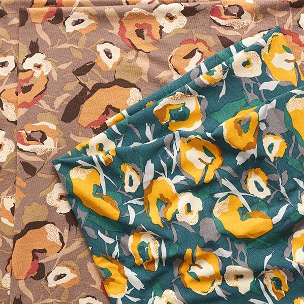 Jersey viscose Fleurs picturales – marron moyen/marron clair