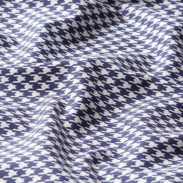 Tissu pour chemise Popeline coton Pied-de-poule – bleu marine/blanc