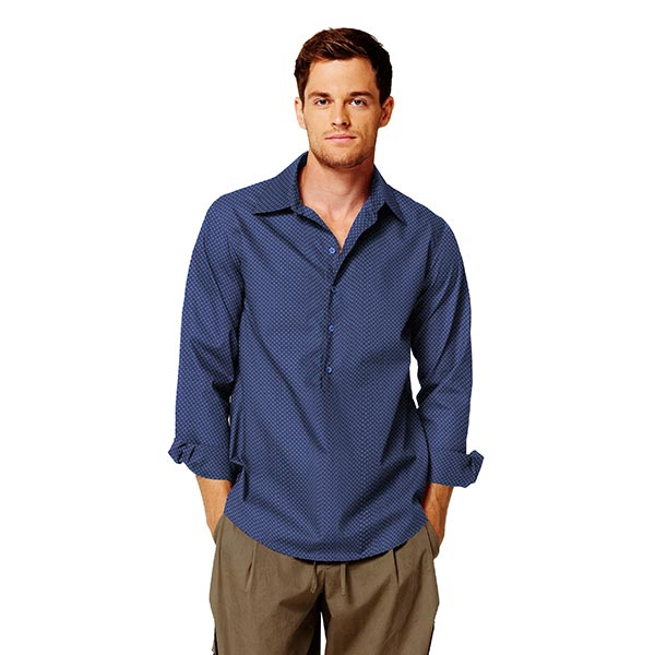 Tissu pour chemise Popeline coton Oriental – bleu marine
