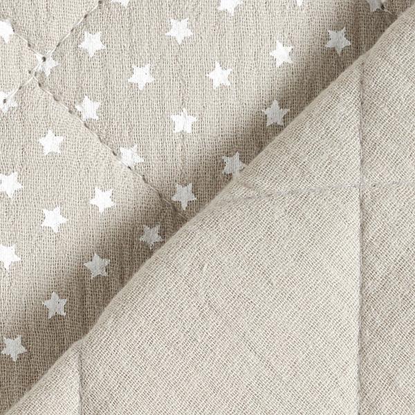 Mousseline / Tissu double crêpe Tissu matelassé Petites étoiles – gris clair/blanc