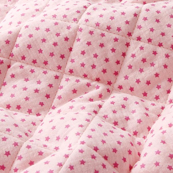 Tissu double gaze de coton Tissu matelassé Petites étoiles – rosé/rose vif