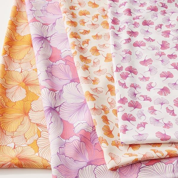 Tissu de chemisier viscose moules-fleurs – écru/jaune