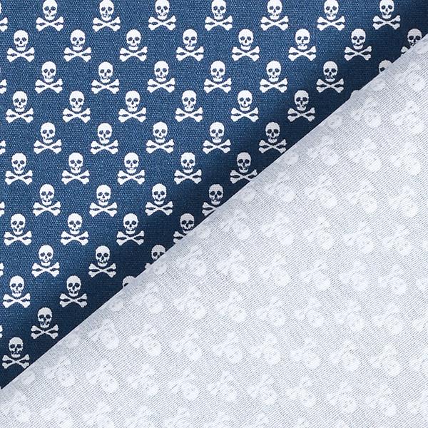 Tissu en coton Popeline Têtes de mort – bleu marine