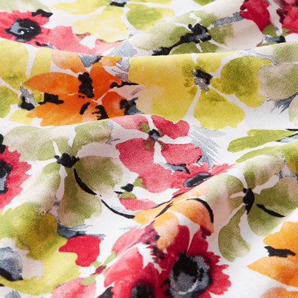 Mélange lin-viscose fleurs aquarelle – blanc/vert