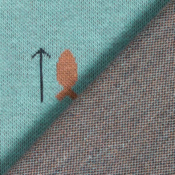 Jersey Jacquard Poissons – vert menthe/marron clair
