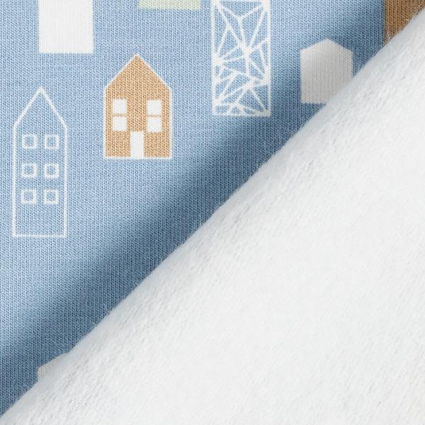 Sweatshirt gratté Petites maisons – bleu clair/marron clair