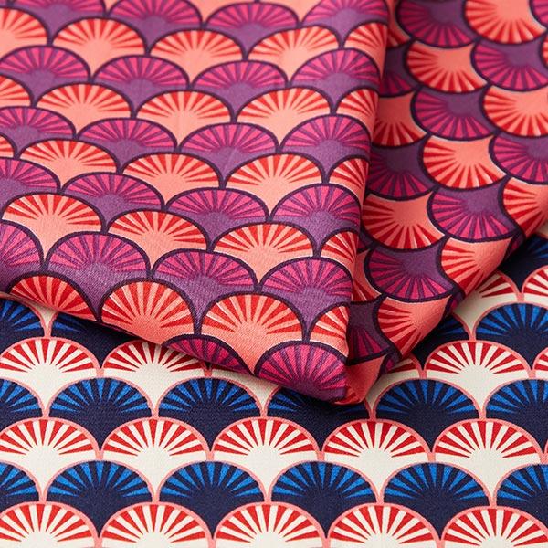 Satin de coton stretch In My Garden Plumes – saumon | Hamburger Liebe