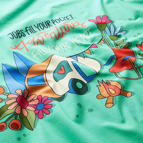 Jersey coton Panel Happy Glamping – vert menthe/corail | Hamburger Liebe