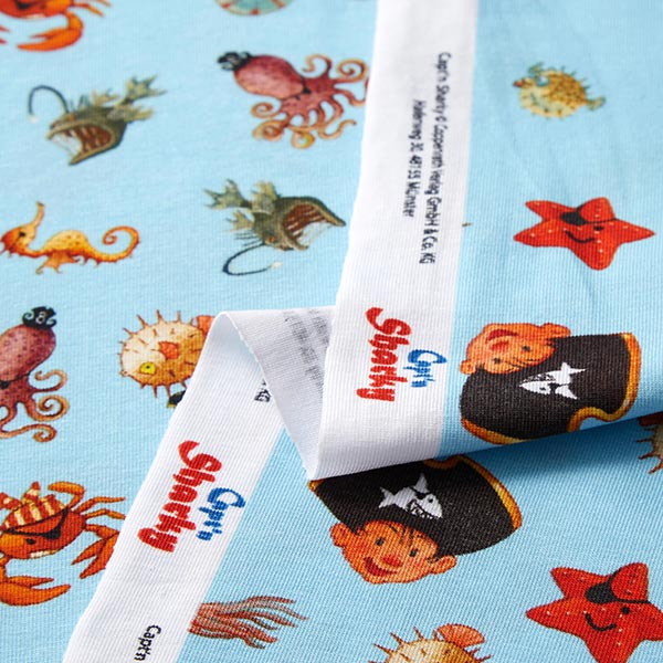 Jersey coton Capt'n Sharky Impression numérique | Coppenrath – bleu bébé/jaune