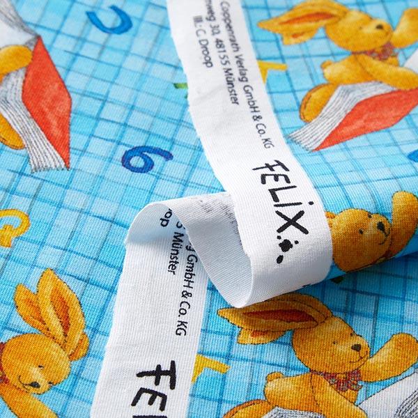Jersey coton Felix le lapin à l'école Impression numérique | Coppenrath – turquoise