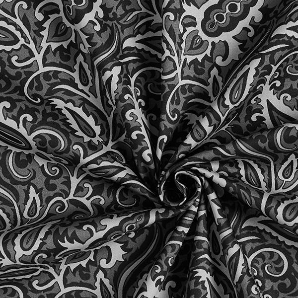 Satin de coton élastique Ornements abstraits – anthracite/gris clair