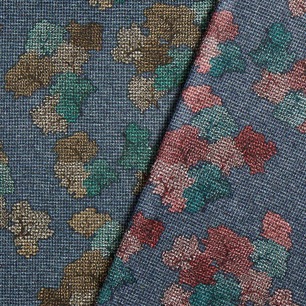 Jacquard maille Camouflage – bleu jean/rouge