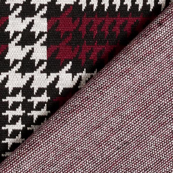 Jersey romanite Pied-de-poule abstrait – noir/rouge bordeaux
