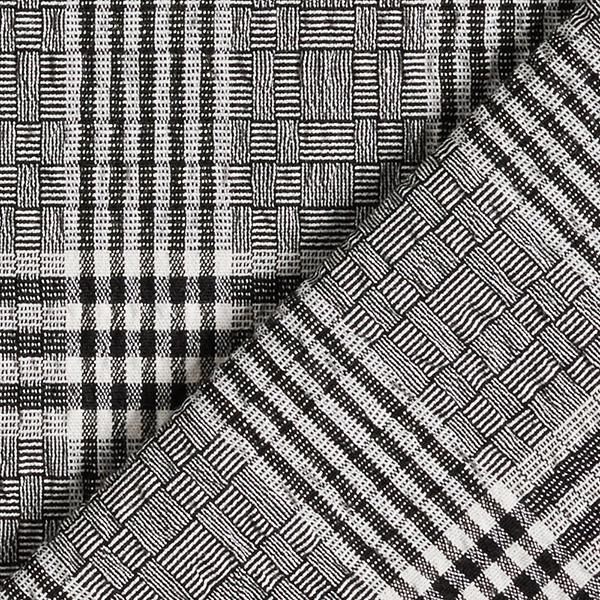 Jacquard stretch Prince-de-Galles aspect Seersucker – noir/blanc