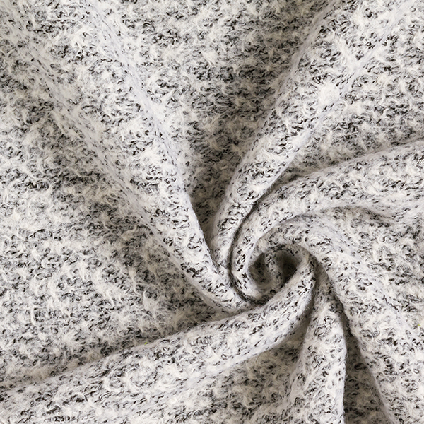 Tissu pour manteau Tricot Look bouclé – noir/blanc