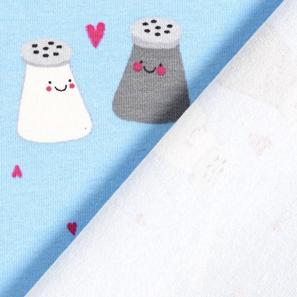 Jersey coton Salière des amoureux – bleu bébé