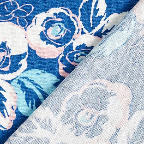 Jersey viscose Fleurs dessinées – bleu roi/rose