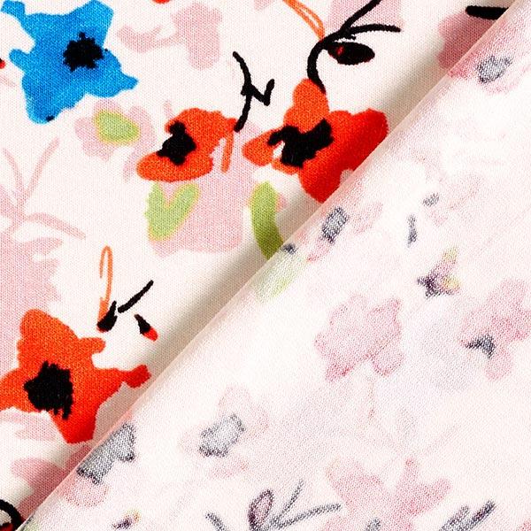 Jersey viscose Peinture florale abstraite – orange/rose