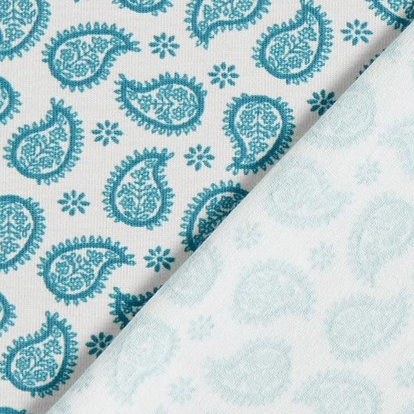Jersey coton Mandela Fantasy Paisley – nature/turquoise | MEZ
