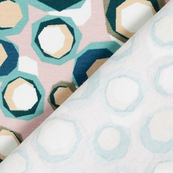 Jersey coton Diamonds Dotted – rose/vert | MEZ