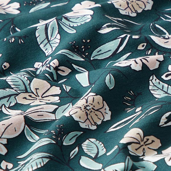 Jersey coton Flower Dream Field – vert foncé   MEZ